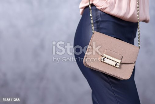 509923232istockphoto Bags fashion trends. Close up of gorgeous stylish bag 513811088