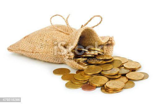 482747823istockphoto Bags filled with coins. A white background. Isolated. 479318266