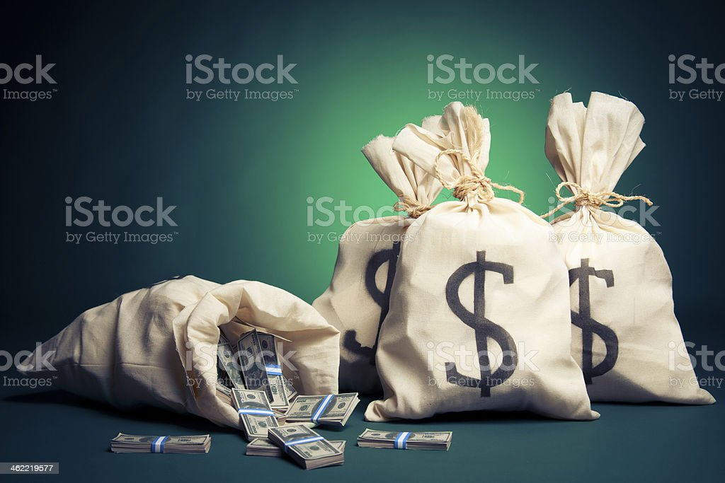 Bags full of money on a green background stock photo