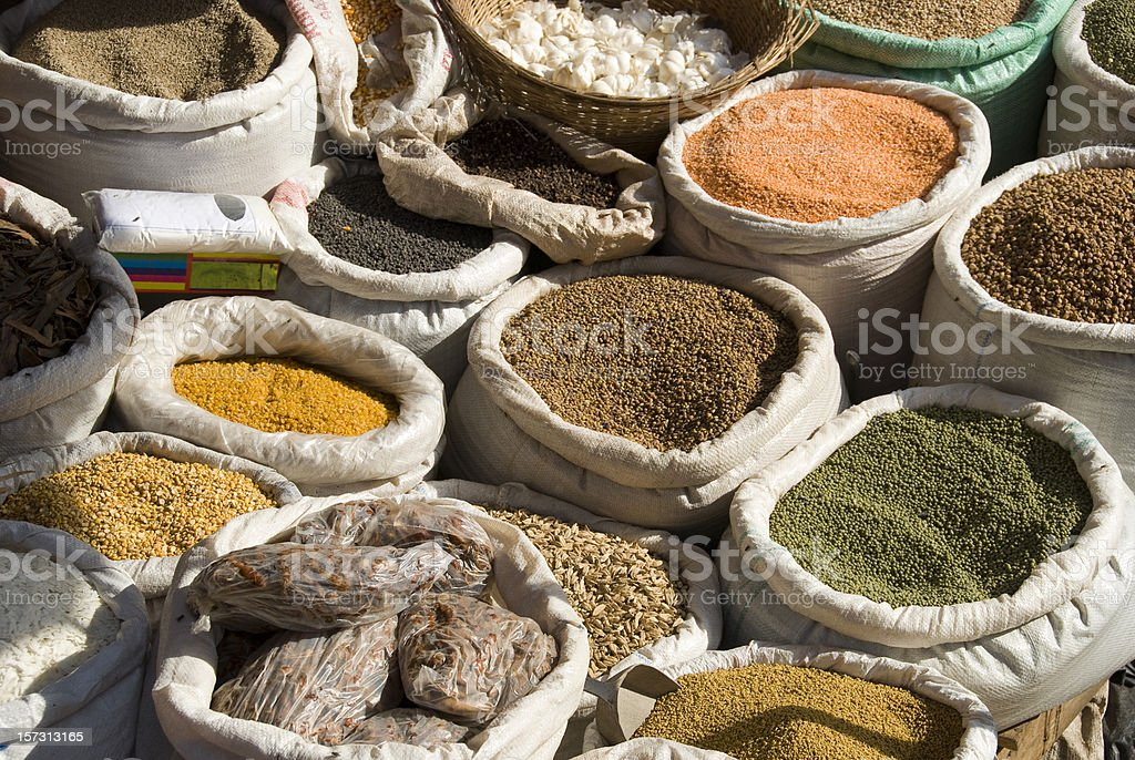 Bags full of spices and herbes on a market stock photo