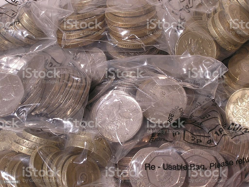 Bags of cash stock photo