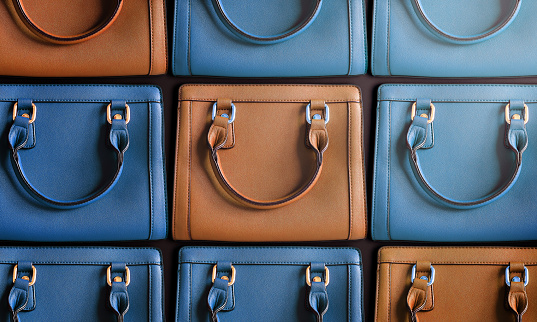 Bags of fashion items in various colors