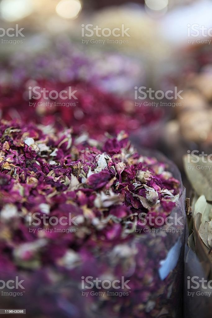 Bags of Fruit Tea and Spices at the Spice Souk royalty-free stock photo