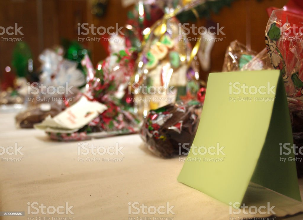 bags of holiday candy with blank card stock photo