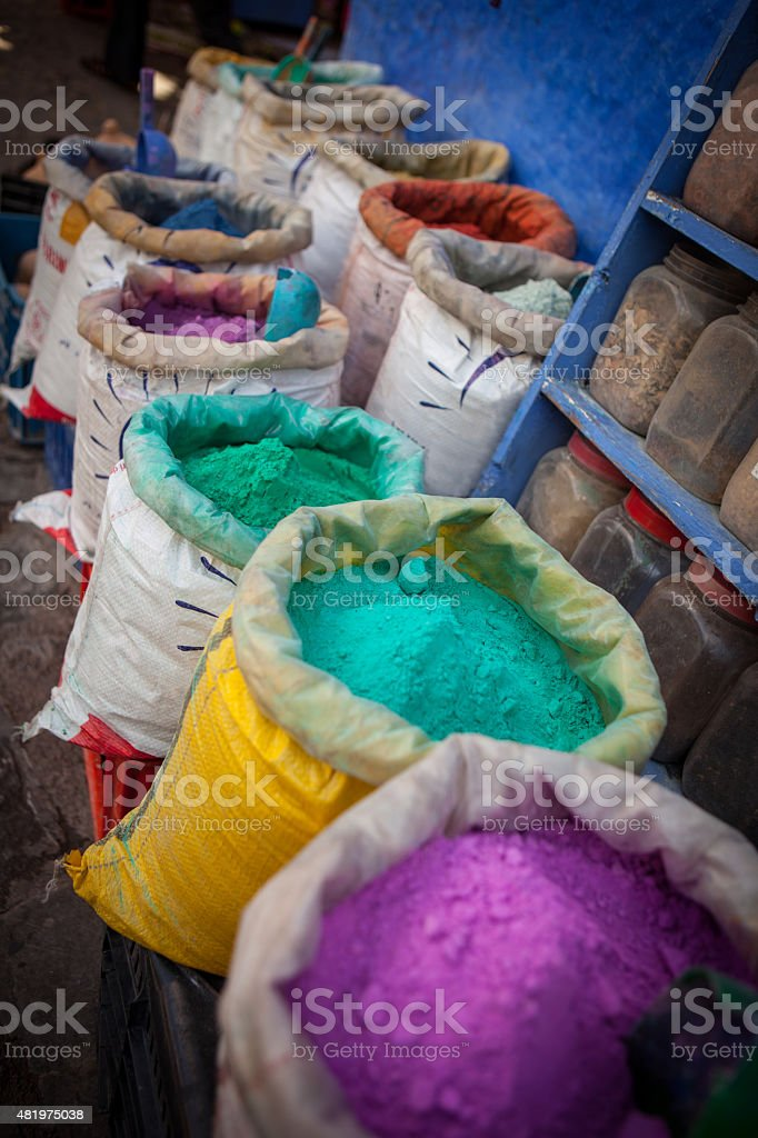 Bags of pigments at a market in Fez, Morocco.