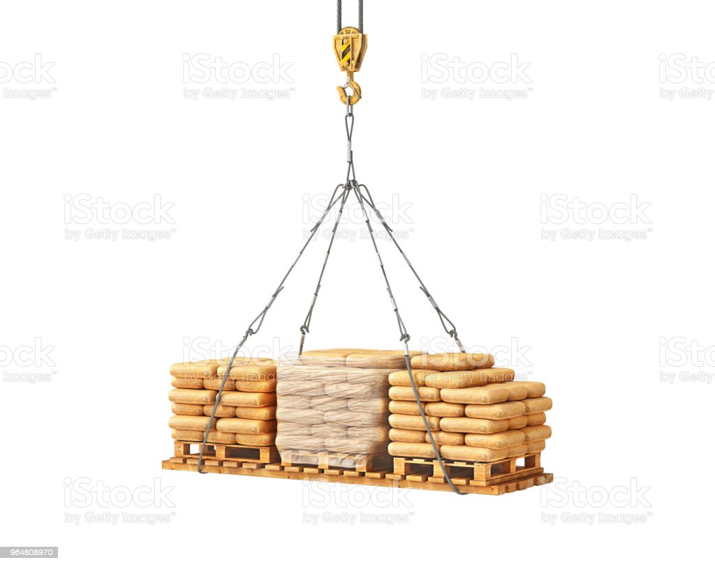 bags with cement on the tap 3d illustration royalty-free stock photo