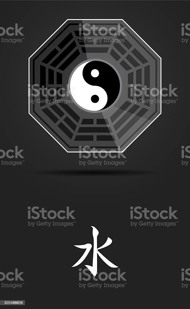 Bagua Yin Yang Symbol With Water Element Stock Photo Istock