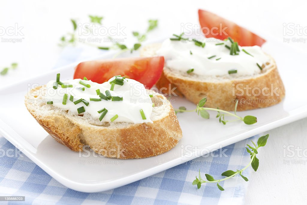 baguette and cream cheese royalty-free stock photo