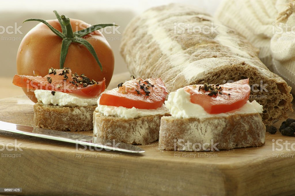 baguette as a snack with cottage cheese royalty-free stock photo
