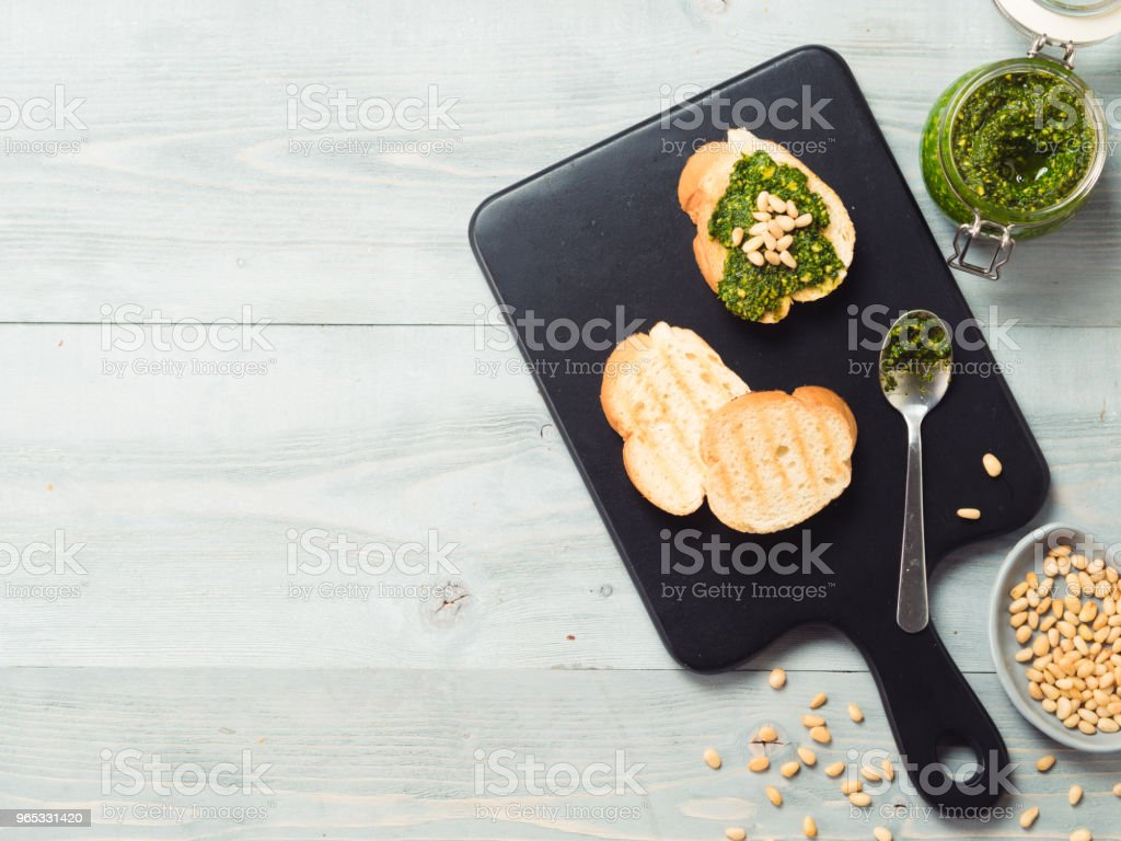 baguette bread with fresh pesto, copy space royalty-free stock photo