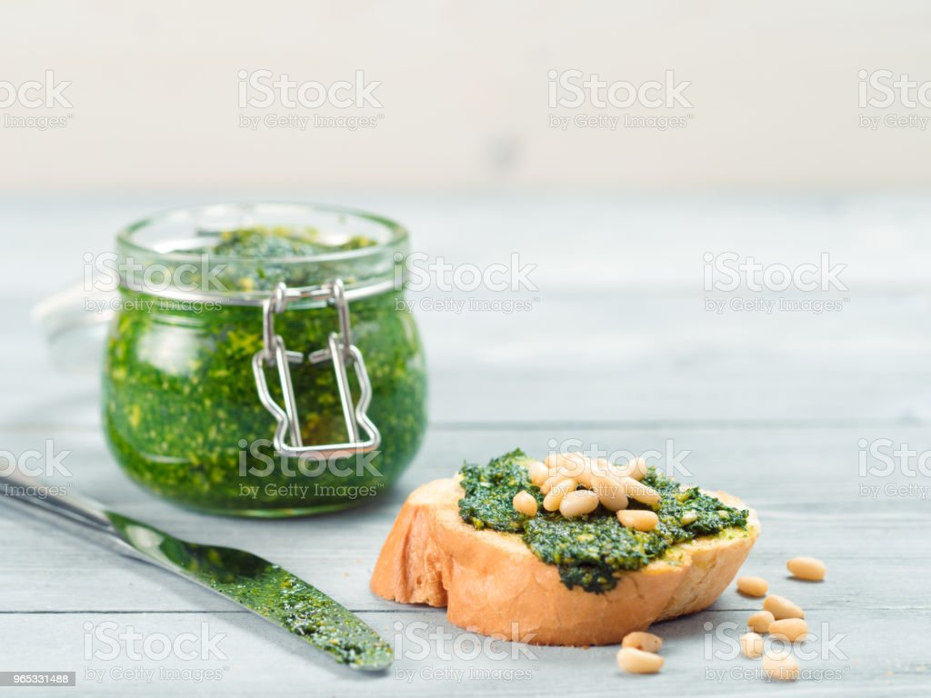 baguette bread with fresh pesto zbiór zdjęć royalty-free