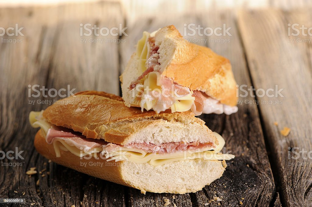 Baguette hamd and cheese stock photo