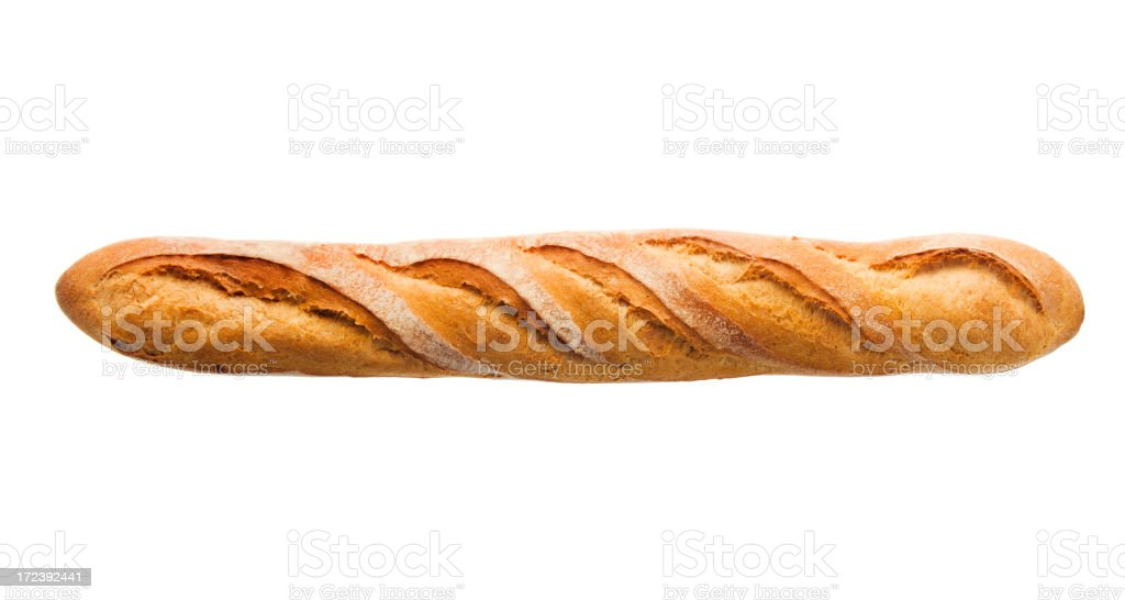 Baguette Loaf of French Bread, Baked Food Isolated on White royalty-free stock photo