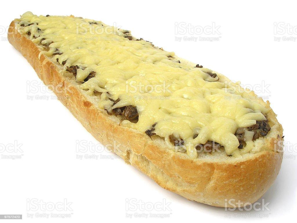 baguette de champignons et au fromage photo libre de droits