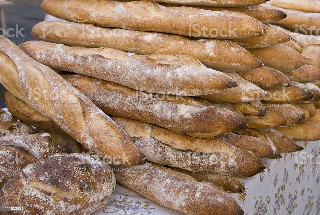 Baguettes at Market stock photo