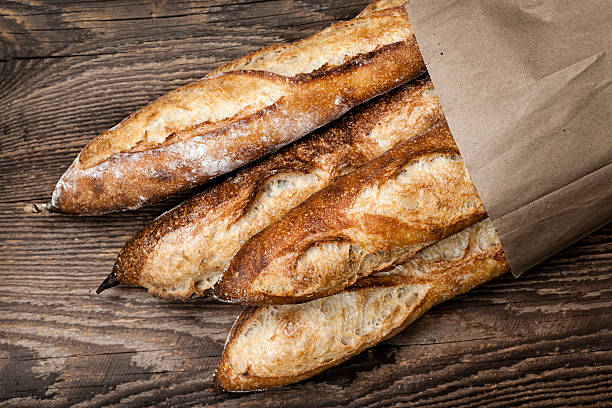 Baguettes bread stock photo