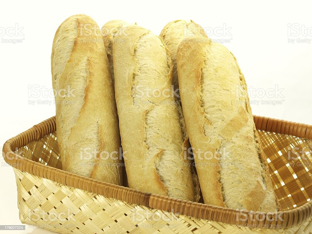 Baguettes for breakfast, isolated royalty-free stock photo