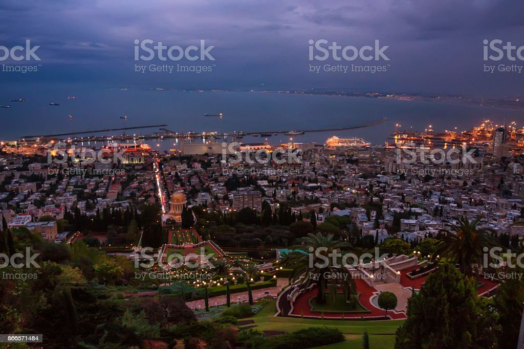 Bahai gardens and temple of Bab in Haifa by night stock photo