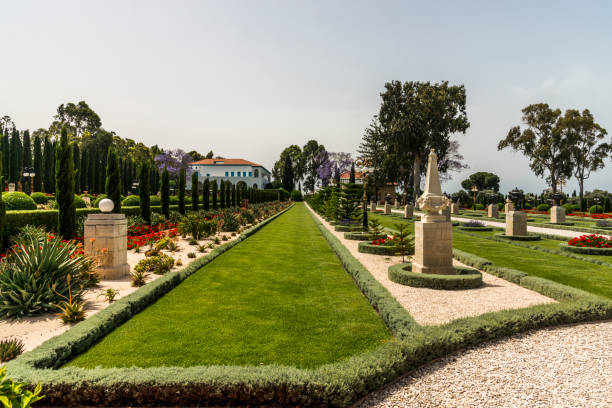 Bahai Gardens in Acre, Israel stock photo