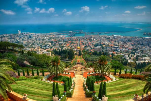 Baha'i Gardens of Haifa The beautiful Baha'i Gardens of Haifa, Israel. historical palestine stock pictures, royalty-free photos & images