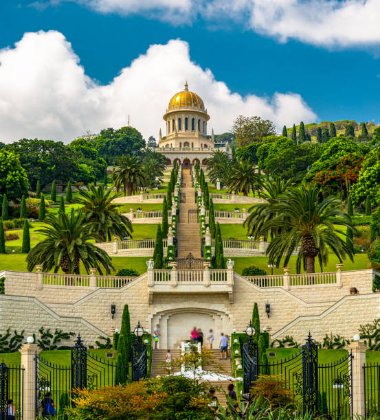 Bahai temple and gardens in Haifa Israel Bahai World Center with gardens and temple in Haifa, Israel, Mount Carmel place of worship stock pictures, royalty-free photos & images