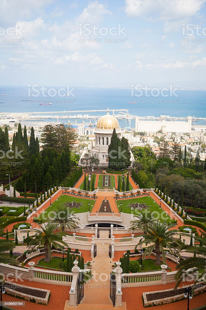 Bahai Temple and view of Haifa, Israel stock photo