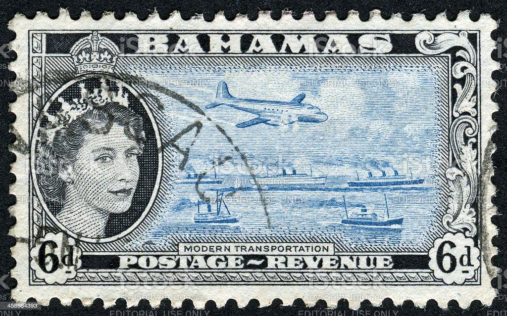 Bahamas And Modern Transportation Stamp royalty-free stock photo