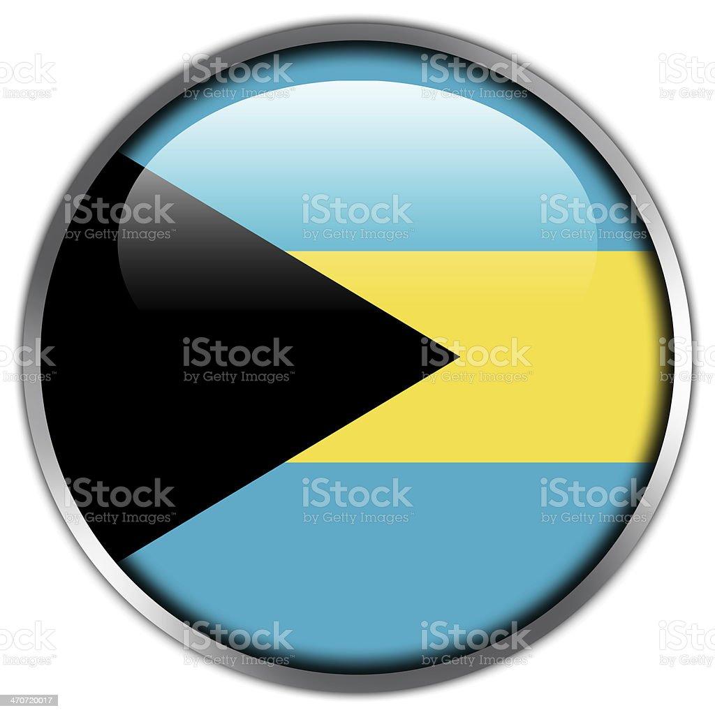 Bahamas Flag glossy button stock photo
