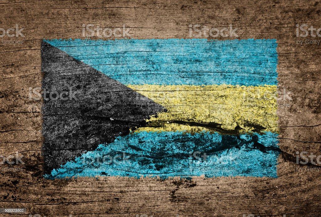 Bahamas flag painted on wood background stock photo