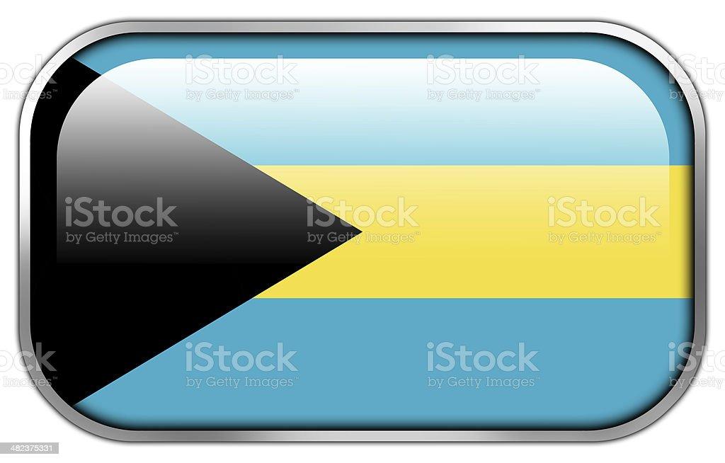 Bahamas Flag rectangle glossy button stock photo
