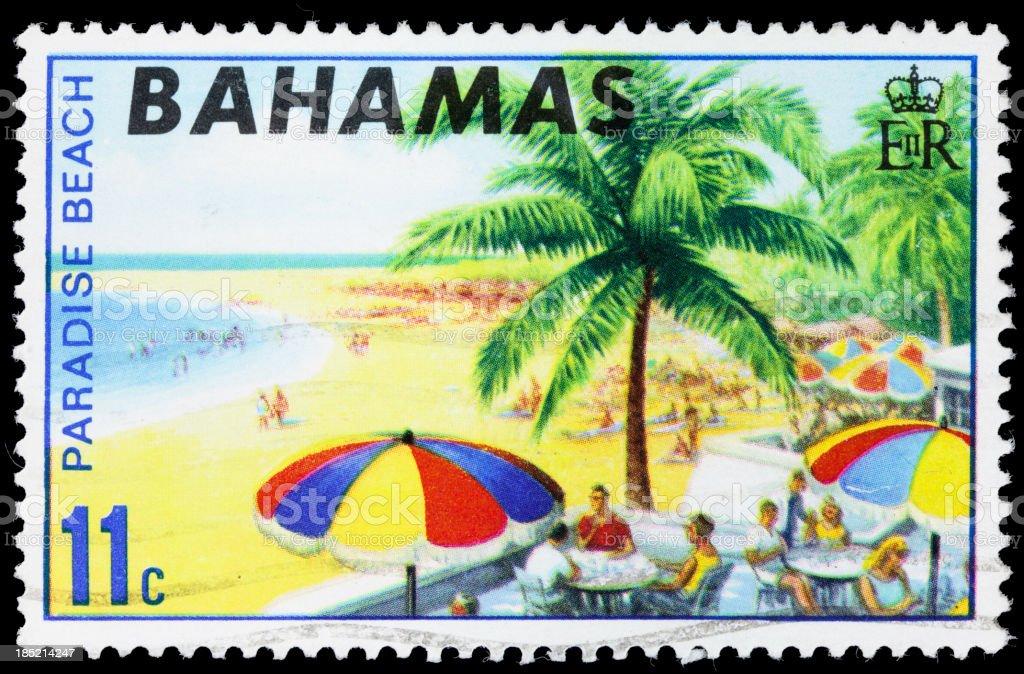 Bahamas Paradise Beach postage stamp stock photo