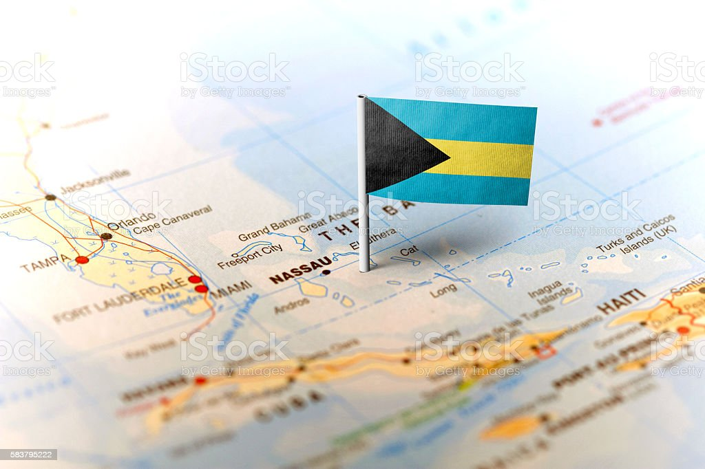 Bahamas pinned on the map with flag stock photo