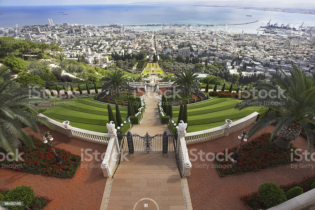 Bahay sacred places, Haifa and Mediterranean sea royalty-free stock photo