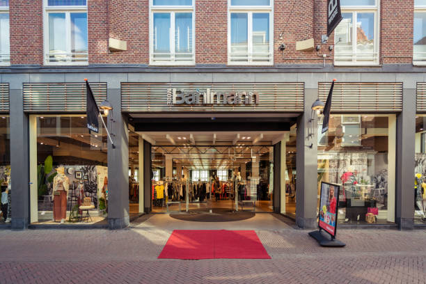 Bahlmann Fashion entrance on the Voorstraat. stock photo