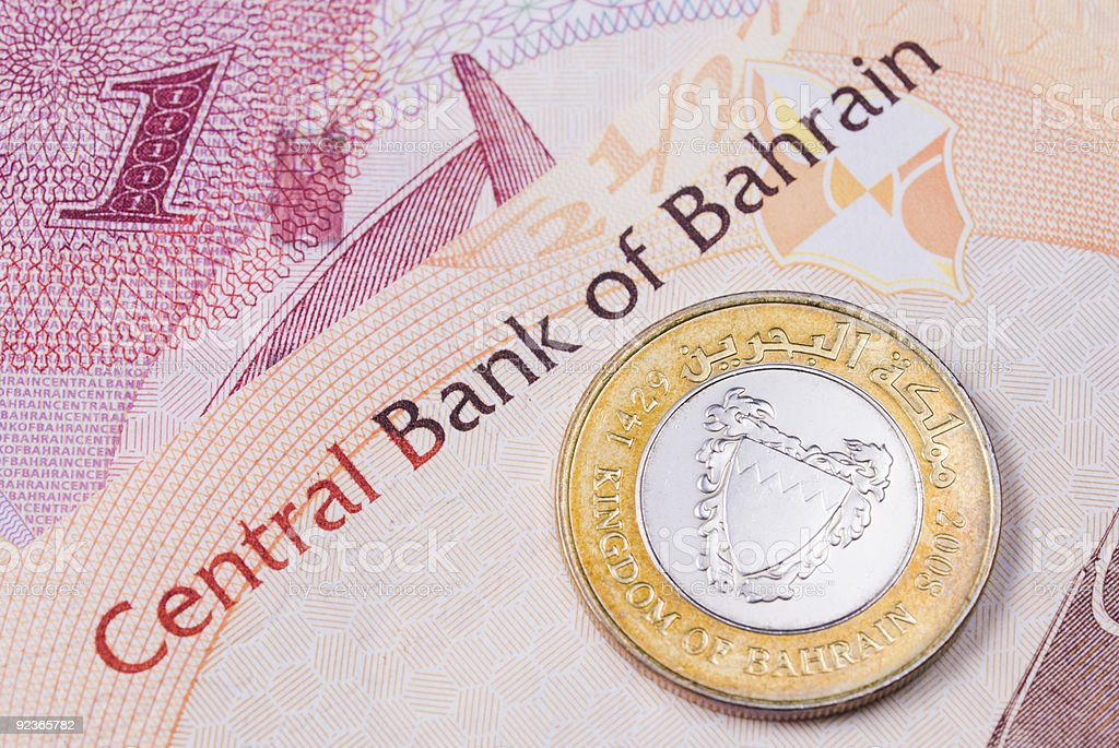 Bahrain currency banknotes and coin royalty-free stock photo