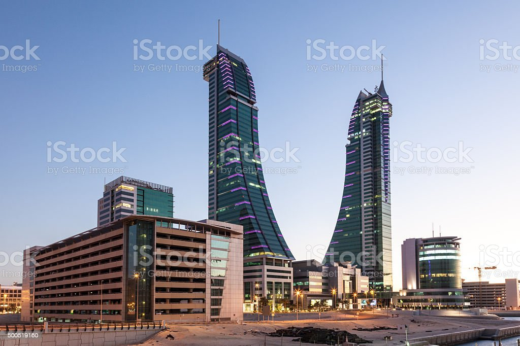 Bahrain Financial Harbour at dusk stock photo