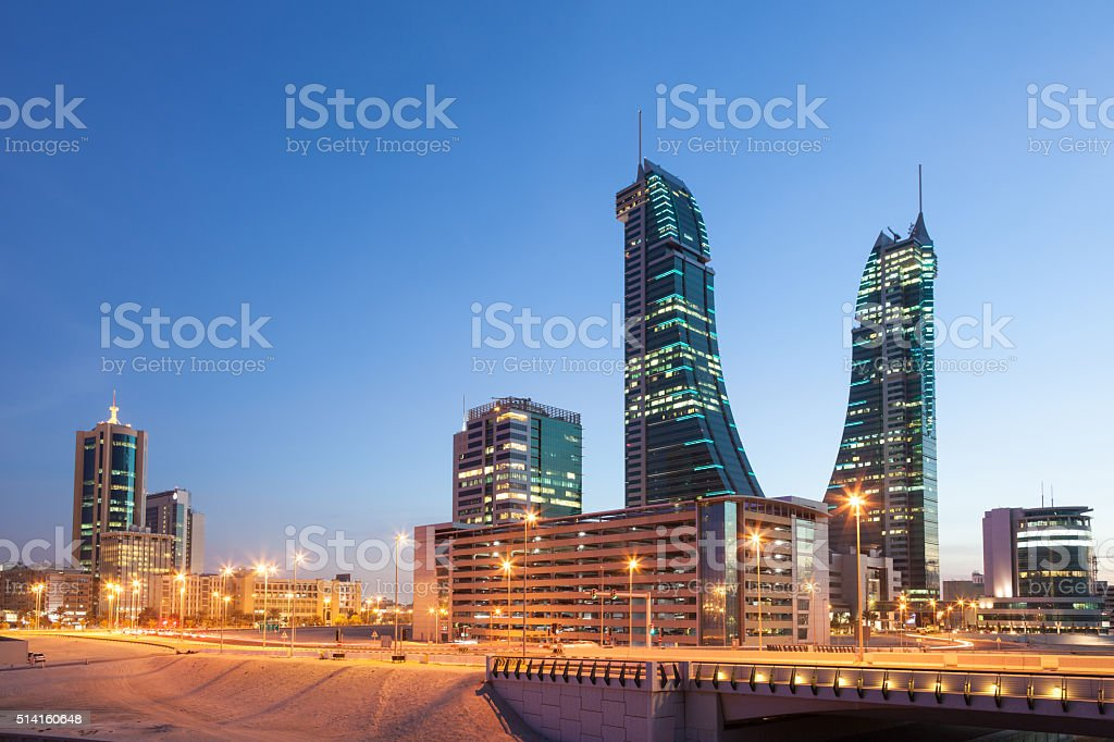 Bahrain Financial Harbour Towers stock photo