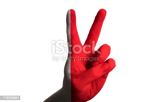 istock bahrain national flag two finger up gesture for victory 179255351
