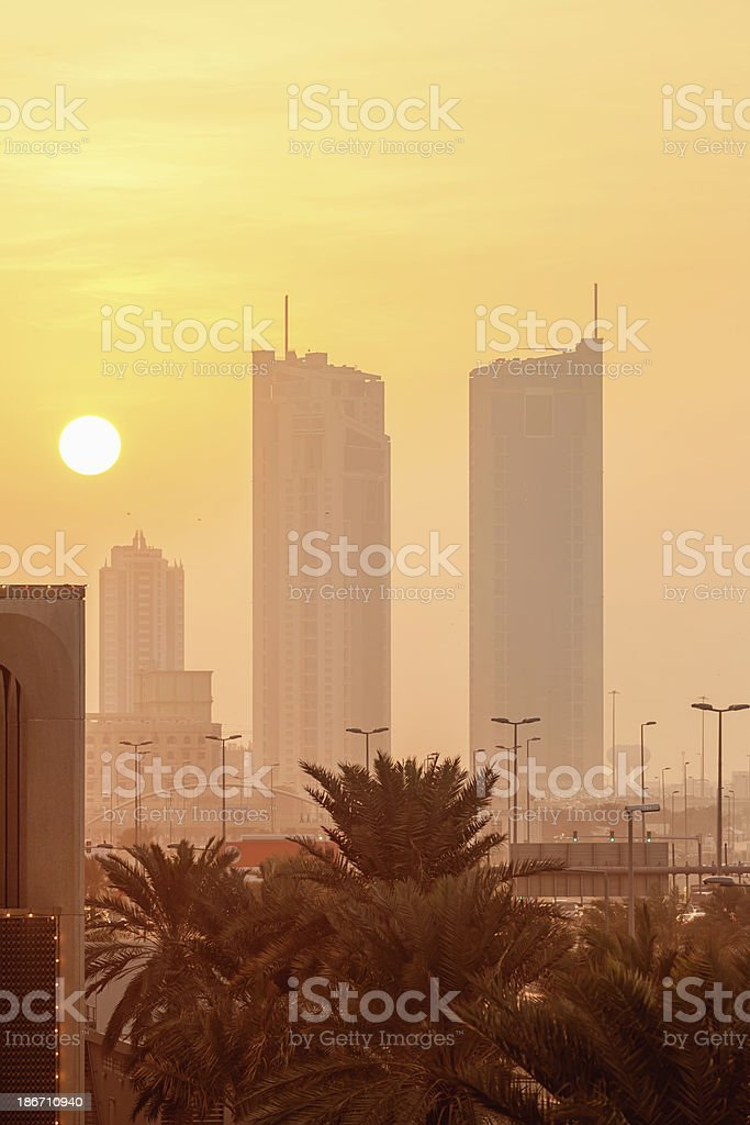 Bahrain Sunset,Manama City Scene royalty-free stock photo
