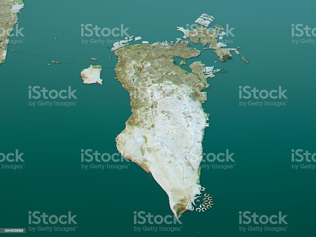 Bahrain Topographic Map 3d Landscape View Natural Color ...