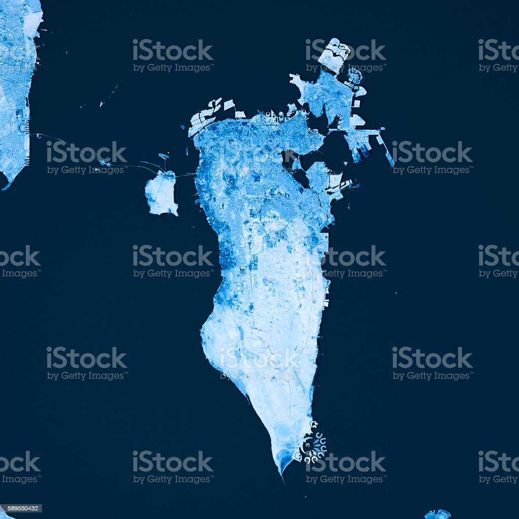 Bahrain Topographic Map Blue Color Top View Stock Photo - Download ...