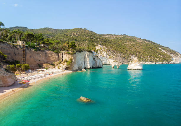 Baia delle Zagare beach, Gargano and Faraglioni di Puglia stock photo