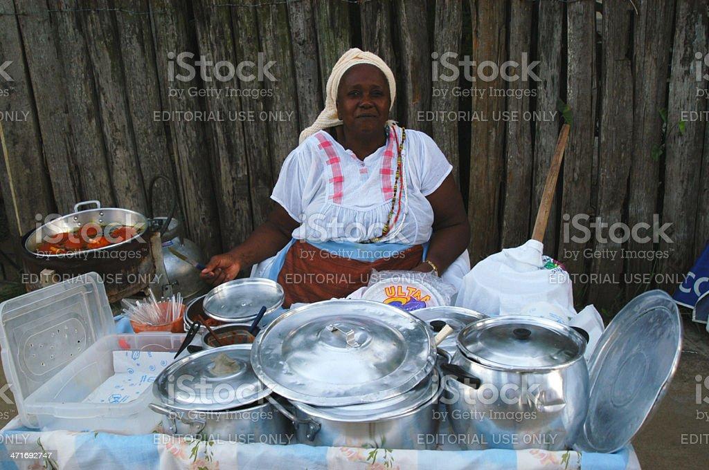 Baiana Brazilian Acaraje Vendor Sells in Salvador Bahia Brazil royalty-free stock photo