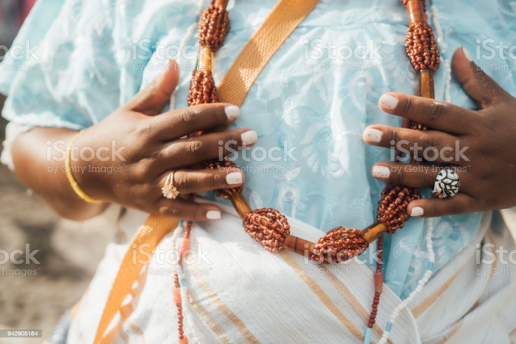 Baiana wearing traditional clothes in Salvador, Bahia, Brazil stock photo