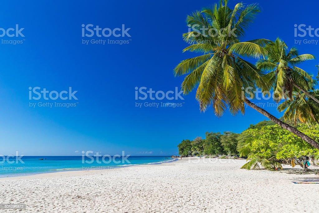 Baie Beau Vallon - Beach on island Mahe in Seychelles stock photo
