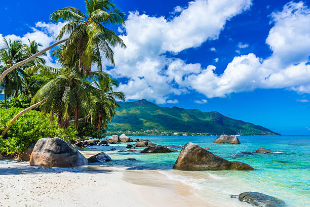 Baie Beau Vallon - Beach on island Mahe in Seychelles stock photo