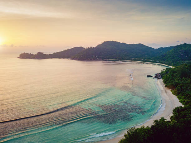 Baie Lazare Sunset Seychelles Mahe Island Aerial View stock photo