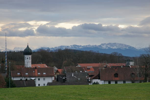 Baierbrunn, a village in the district of Munich. Bavaria, Germany stock photo