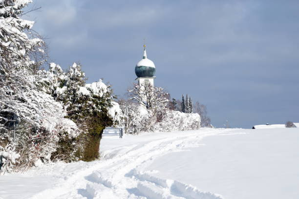 Baierbrunn After the snow storm January 2019. District of Munich. Bavaria, Germany. stock photo