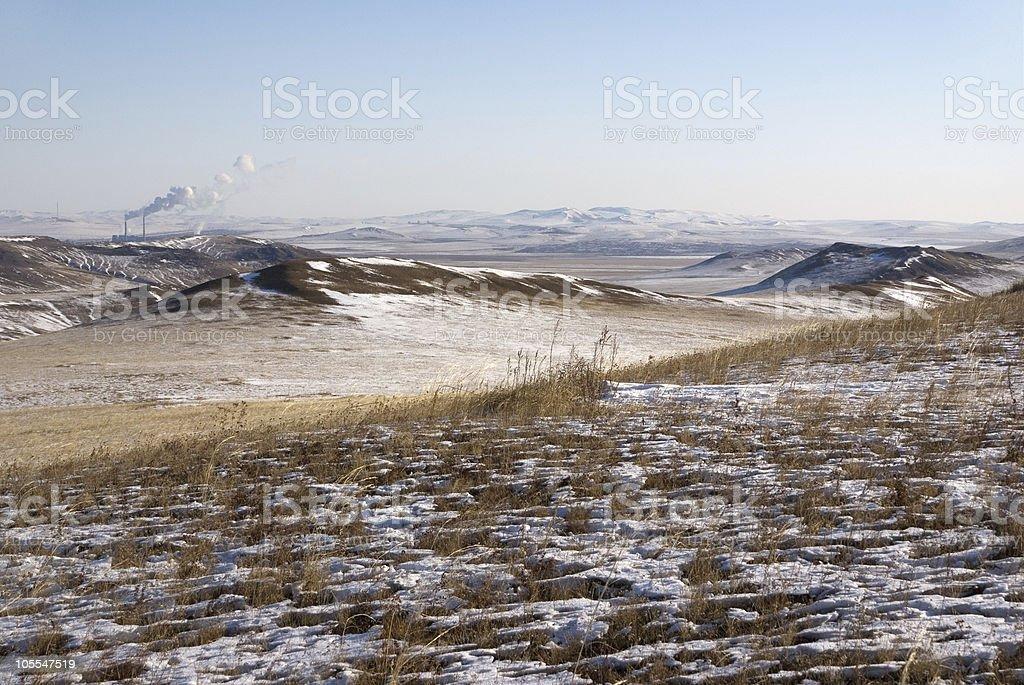 Baikal steppe at the China-Russia border royalty-free stock photo